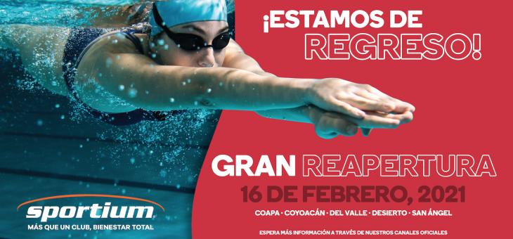 Reabrimos Sportium Coapa, Coyoacán, Del Valle, Desierto y San Ángel